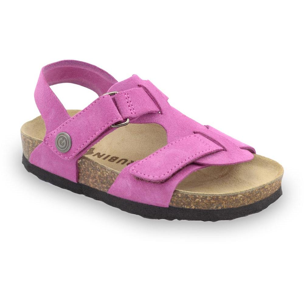 ROTONDA Kids - velor leather sandals (30-35) - pink, 33