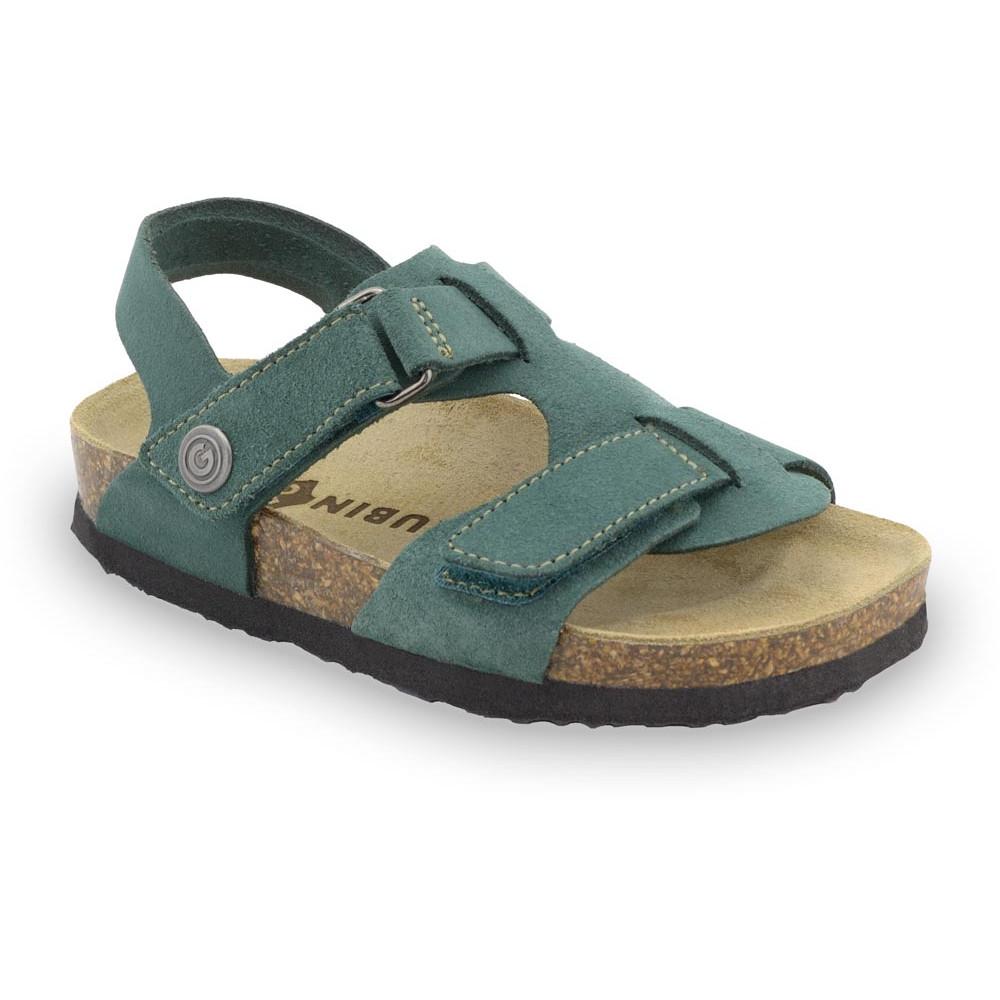ROTONDA Kids - velor leather sandals (30-35) - green, 30