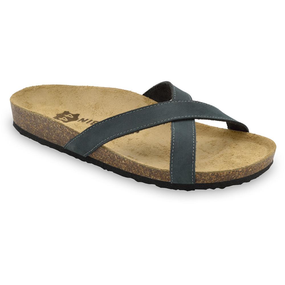 NORRIS Men's slippers - leather (40-49) - dark grey, 45